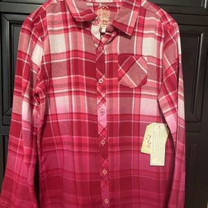 Ombré pink/red flannel - Girls 6/6x